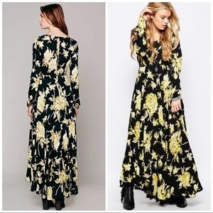 Free People Maxi floral black yellow open back EUC